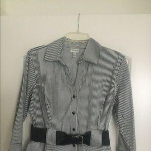 Black& White Striped Blouse.NWT Size L